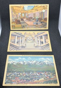 LOT OF 3 : Utah UT postcard Salt Lake City, STATE CAPITOL WASATCH AERIAL - LINEN