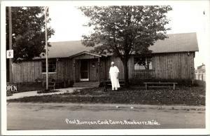 Newberry Michigan~Paul Bunyan Cook Camp~Chef Outside~White Apron~1940s RPPC