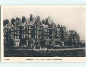 old rppc TWO HOTELS Folkestone - Kent - North Downs - England UK HM1690