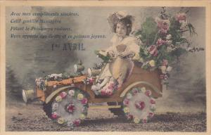 April Fool's Day Young Girl In Car Decorated With Flowers 1907
