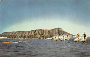 Hawaii Hawaiian Islands 1960s Postcard Surfers Surf Riding