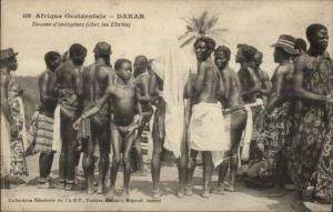 Dakar Senegal -0 Natives Semi-Nude Dance Danses d'Indigenes c1910 Postcard