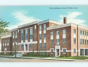 Unused Linen CITY BUILDING Council Bluffs Iowa IA p0951