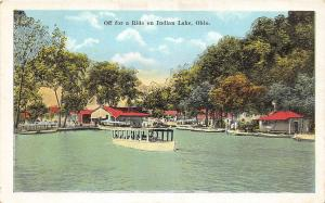 F23/ Indian Lake Ohio Postcard Boat Off For a Ride c1915