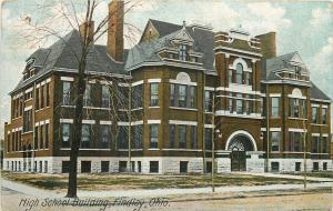 Findlay Ohio~Arch Doorway, Fancy Dormers in Old High School Bldg~1910 Postcard
