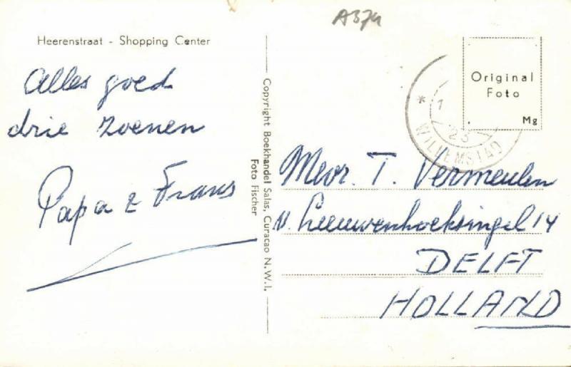 curacao, N.W.I., Heerenstraat, Shopping Center, Car (1960s) RPPC