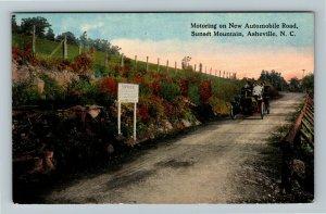 Asheville NC-North Carolina, Automobile Motoring Road, Sunset Mountain Postcard