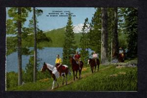 OR Diamond Lake Mt Bailey Oregon Linen Postcard Horseback riding Horses Ride PC