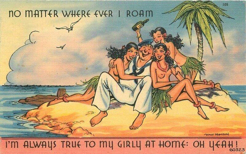 Desert Island Sailor Native Girls Comic Humor Drinkers linen Postcard 21-4549