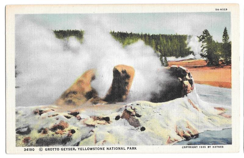 WY Yellowstone Park Grotto Geyser Vtg Haynes Wyoming Linen Postcard