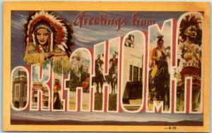 Vintage OKLAHOMA Large Letter Postcard Multi-View Indians DEXTER Linen c1940s