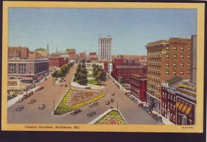 P1582 vintage unused postcard birds eye view preston gardens baltimore maryland