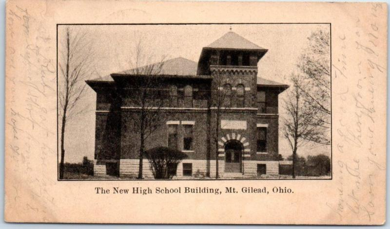 Mt Gilead, Ohio Postcard The New High School Building View w/ 1907 Cancel