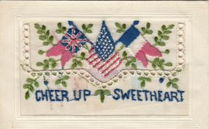 Hand Sewn, 1900-10s; Cheer Up Sweetheart, Flags, Insert
