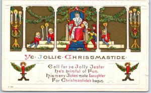 1915 Holiday Postcard Father Christmas Santa Claus YE JOLLY CHRISTMASTIDE