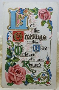 Greetings Regards Flower Vintage Postcard