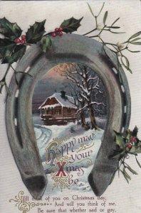 CHRISTMAS, 1900-10s; Horseshoe framing Winter Scene, Holly, Poem