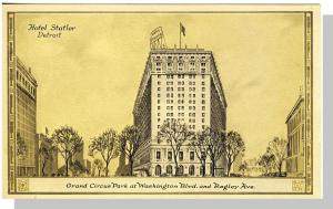 Detroit, Michigan/MI Postcard,Hotel Statler/Grand Circus Prk