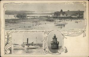 Nantasket MA Meulti-View Steamship Lighthouse c1905 Postcard