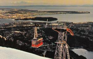 NORTH VANCOUVER, B.C., Canada, 40-60s; Grouse Mountain Skyride Panorama