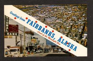 AK Greetings From Fairbanks Alaska National Bank Mobel Cafe Postcard PC