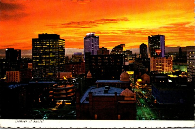 Colorado Denver Skyline At Sunset 1973