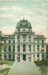 Boston Massachusetts City Hall 1909 Postcard