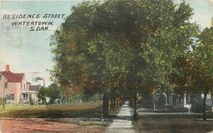 Watertown South Dakota~Residence Street~Homes~Sidewalk~Dirt Road~1909 Postcard
