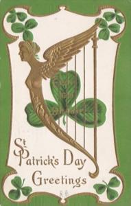 Saint Patrick's Day With Gold Harp and Shamrocks 1911
