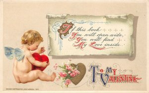 LP74  Valentine's Day Postcard Winsch Cherub Sewing Mending Heart