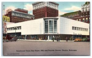 Mid-1900s Greyhound Union Bus Depot, 18th & Farnam Streets, Omaha, NE Postcard