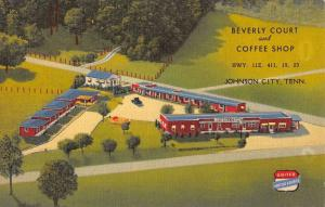 Johnson City Tennessee Beverly Court Coffee Shop Antique Postcard K18197