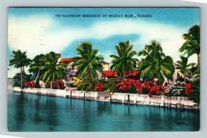 Holiday Isles FL-Florida, Scenic View Bayfront Residence, Linen c1960 Postcard