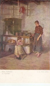 G.A. hESST. Mother and Daughter. At Breakfas Fine painting vintage German PC
