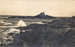 Nubble Lighthouse From a Distance Real Photo Postcard
