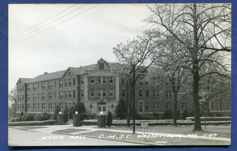 Warrensburg Central Missouri State College Yeater Hall Real Photo Postcard