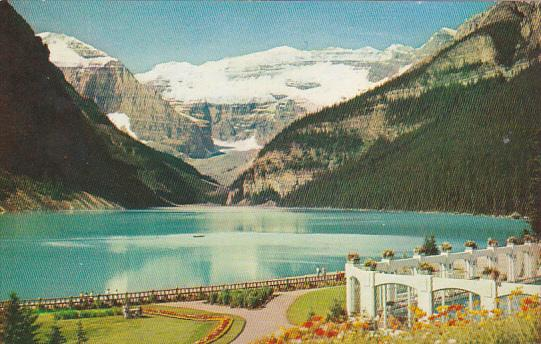 Canada Alberta Lake Louise Mount Lefroy And Victoria Glacier From Chateau Lak...