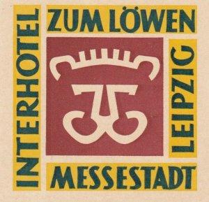 Germany Leipzig Interhotel Zum Loewen Vintage Luggage Label sk2894