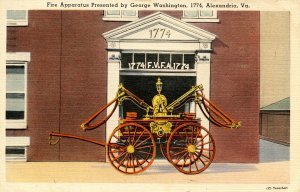 VA - Alexandria. Fire Apparatus presented by George Washington in 1774