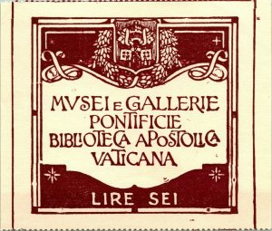1939 Ticket Museums and Pontifical Galleries Vatican Apostolic Library Rome