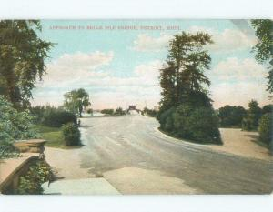 Unused Divided-Back BRIDGE SCENE Belle Isle - Detroit Michigan MI d4312