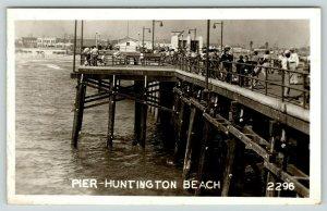 Huntington Beach California~Fishermen on Pier~Beach Waterfront Shops~1940s RPPC