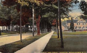 Middletown New York~Grove Street And Thrall Hospital c1910 PC