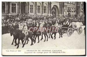 Old Postcard funeral of General Gallieni L & # 39arrivee the procession place...