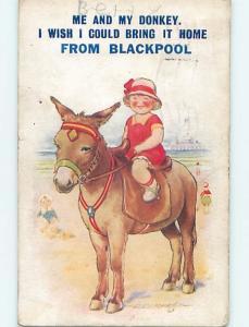Bamforth comic signed TEMPEST - CHILD RIDES PONY HORSE IN BLACKPOOL UK HL9298