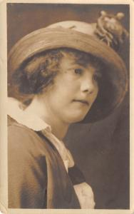 Contemplative Young Latha w/Short Hair & Straw Hat w/Rose~RPPC 1920s