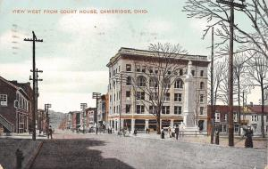 Cambridge OH Wheeling Ave~West From Courthouse~Civil War Soldiers Monument c1910