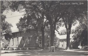 Ohio Real Photo RPPC Postcard OBERLIN First CHURCH Exterior c1950