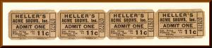 Heller's Acme Shows Carnival Tickets, Franklin Lakes, New Jersey/NJ, 1950's?