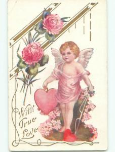Pre-Linen valentine CUPID WITH HEART ON STRING CARRIES ANOTHER HEART k5919